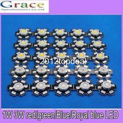 50 pcs 1 W 3 W de Alta Potência branco quente branco vermelho verde Azul Royal azul 660nm LEVOU com 20mm estrela pcb