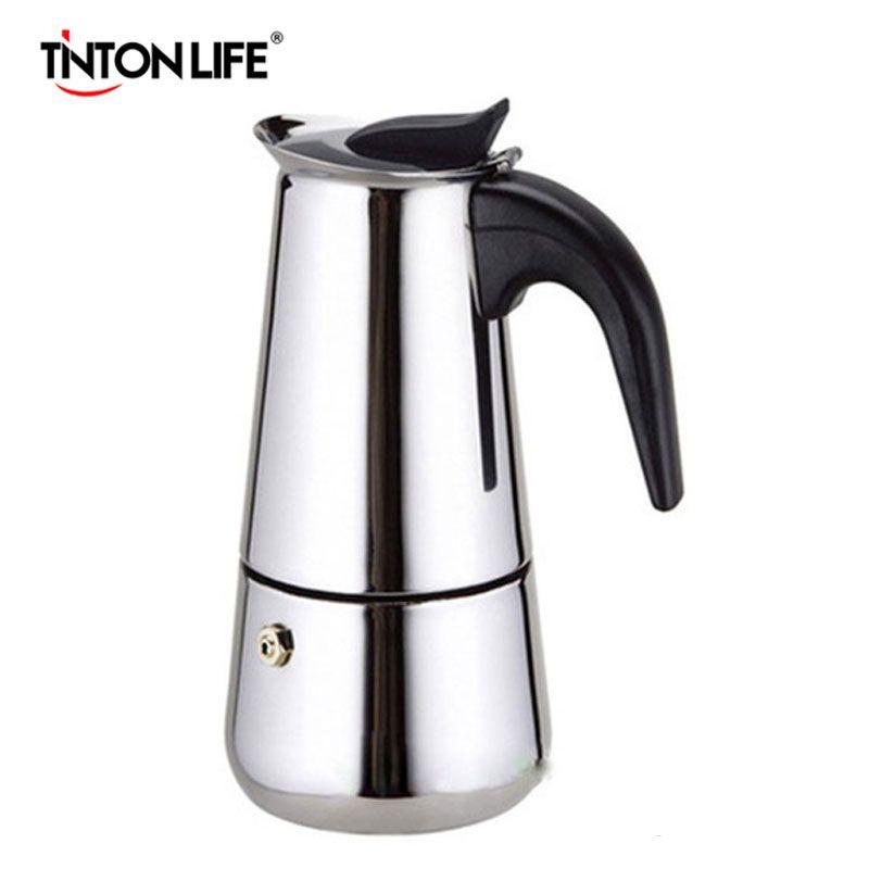 TINTON LIFE Top Quality 2/4/6/9 Cups Stainless Steel Moka Espre sso Latte Percolator Stove Top Coffee Maker Pot