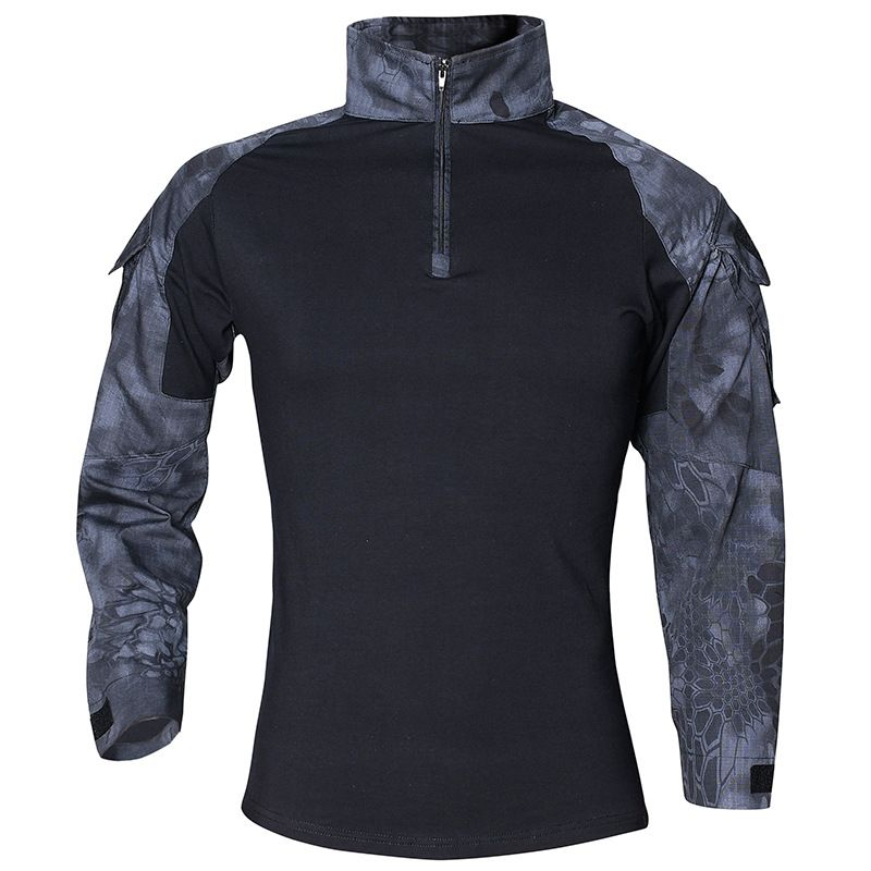 CS Shooting Tactical Camouflage Shirt With Elbow Pad Men Outdoor Hunting Training Paintball Army Combat Long Sleeve T-Shirt Tops