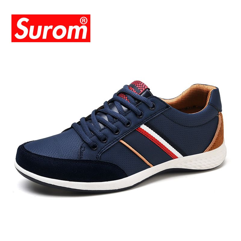 SUROM Men Casual Shoes 2017 Spring Autumn Lace up British Style Breathable Mesh Suede Top Fashion Flat Patchwork Leather Shoes