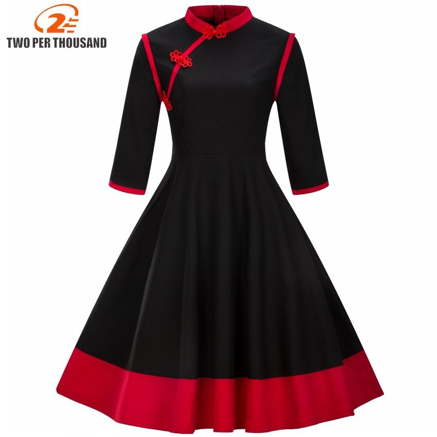 Plus Size 3XL 4XL Women Clothing Vintage Dress Restore Ancient Spring Autumn Mandarin Collar Patchwork Black Red Hepburn Dresses