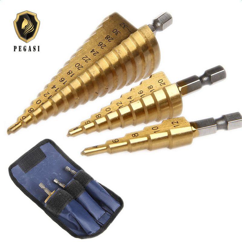 PEGASI 3pc Hss Step Cone Taper Drill Bit Set Metal Hole Cutter Metric 4-12/20/32mm 1/4 Titanium Coated Metal Hex Taper