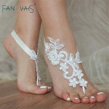 Fashion One Pair Lace Appliqued Barefoot Wear Beach Bridesmaid Yoga Footwear Anklet for Bridesmaids AFA01