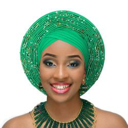 African head wrap women headtie traditional turban diamond decorated auto gele