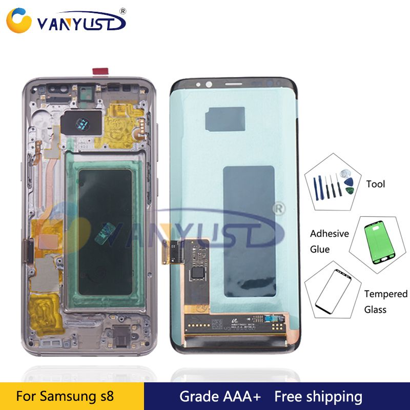 For Samsung Galaxy S8 G950F G950W Lcd Display Touch Screen Digitizer Assembly For Samsung S8 Plus G955F G955W Lcd with frame