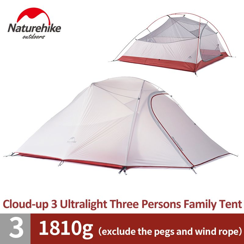 Naturehike Cloud-Up 3 Person Family Tent 4 Season Ultralight Backpacking Tent Outdoor Hiking Backpacking Waterproof Camping Tent