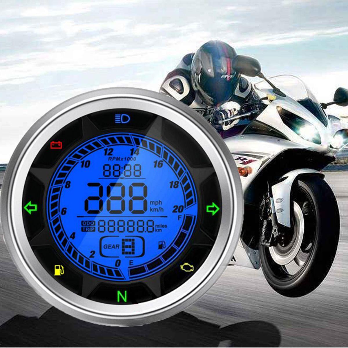 Universal Multi Function 20000 RPM Motorcycle Digital Speedometer Odometer Tachometer Trip Meter 399 KMH MPH Gear1-6