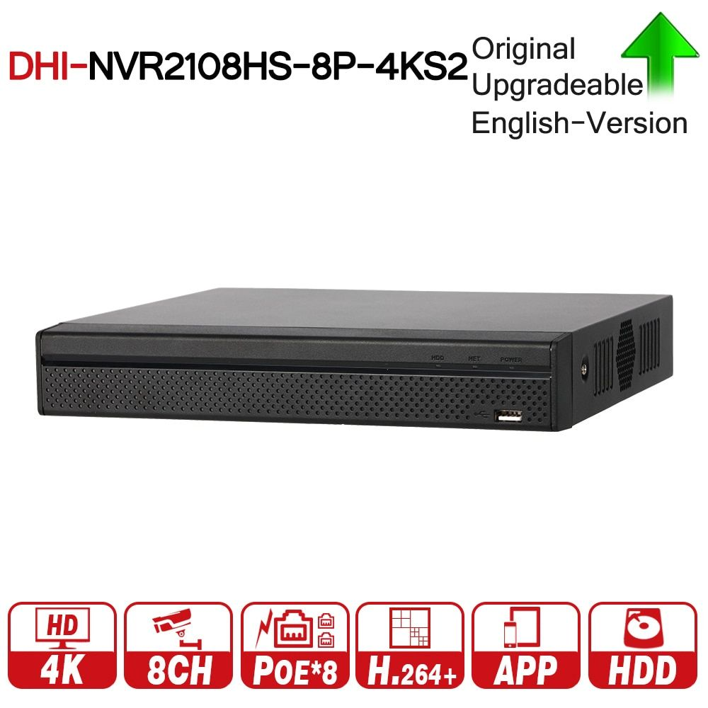 DH Original NVR2108HS-8P-4KS2 8 Compact 1U 8PoE Lite 4K H.265 Network Video Recorder NVR 8MP Record For IP Camera CCTV System