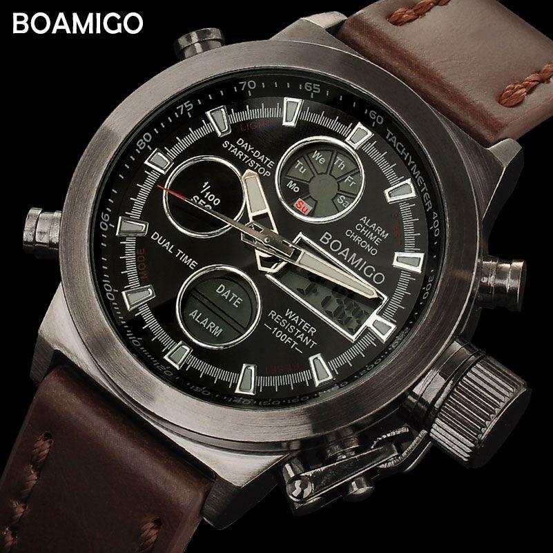 BOAMIGO hommes sport montres brun bande de cuir homme militaire quartz LED numérique analogique casual montres étanche reloj hombre