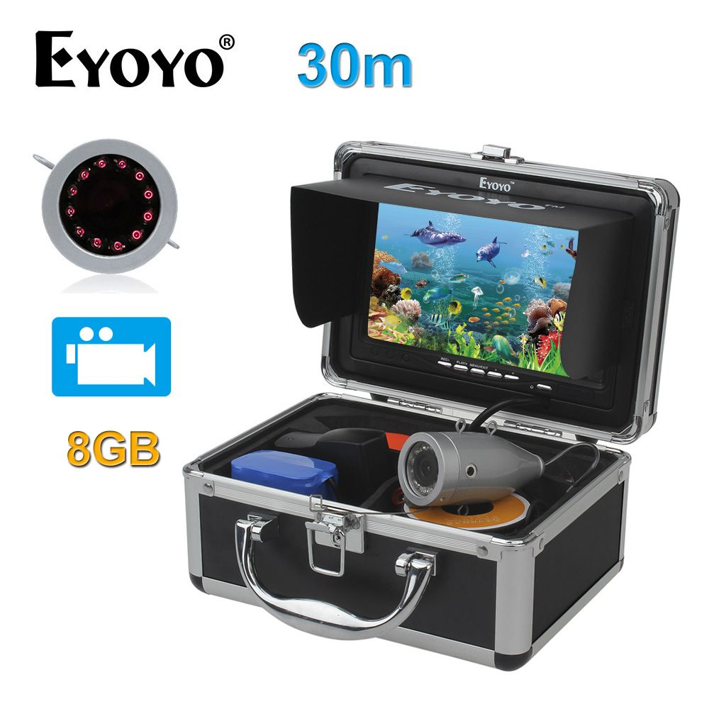 Eyoyo Original 7 Fish Finder HD 1000TVL 30M Underwater Fishing Video Camera Recorder DVR Infrared LED with 8GB SD Card Silver