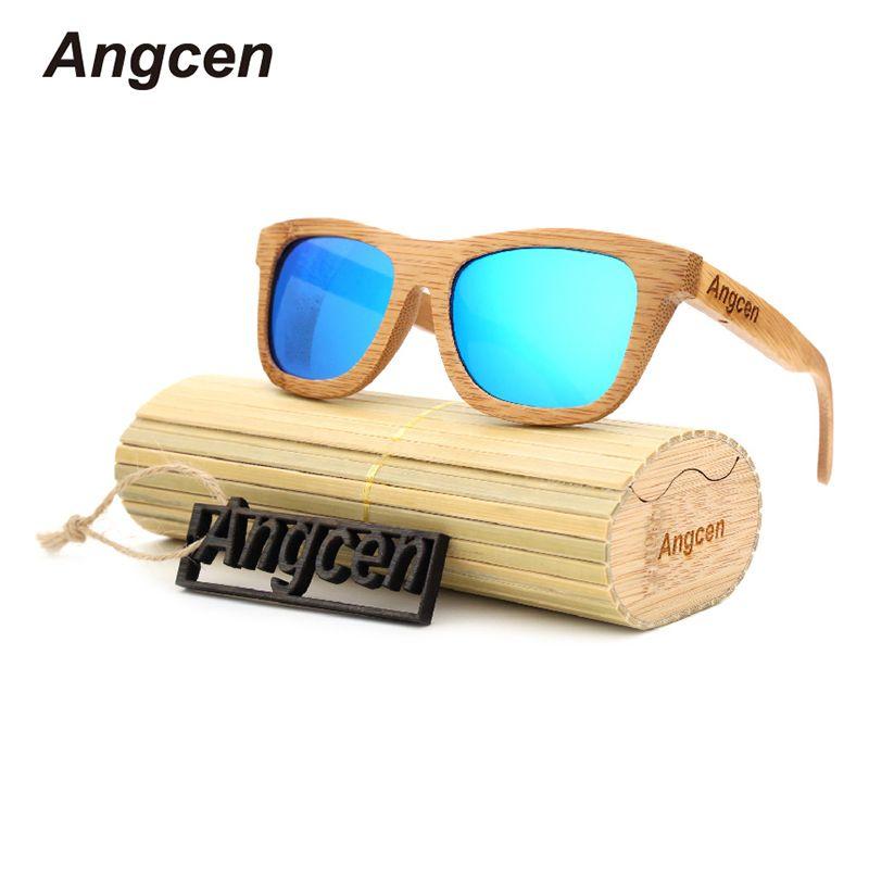 Angcen Ladies Sunglasses Women Polarized <font><b>Retro</b></font> Vintage Sun glasses Men wood bamboo sunglasses brand designer square glasses
