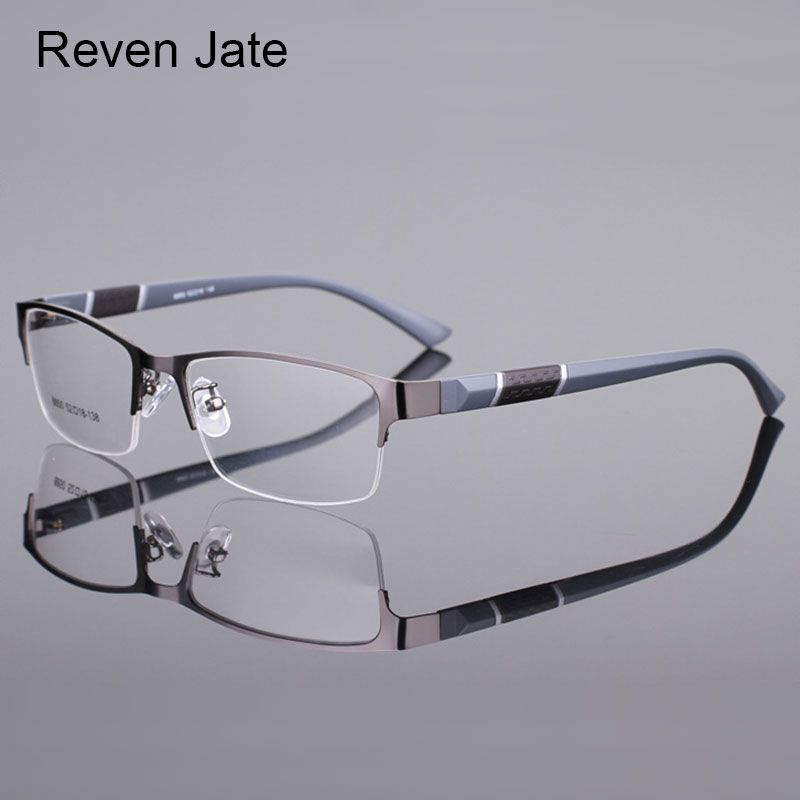 Reven Jate 8850 Demi Jante Alliage Jante Avant Flexible En Plastique TR-90 Temple Jambes Optique Lunettes Cadre pour Hommes et Femmes lunettes