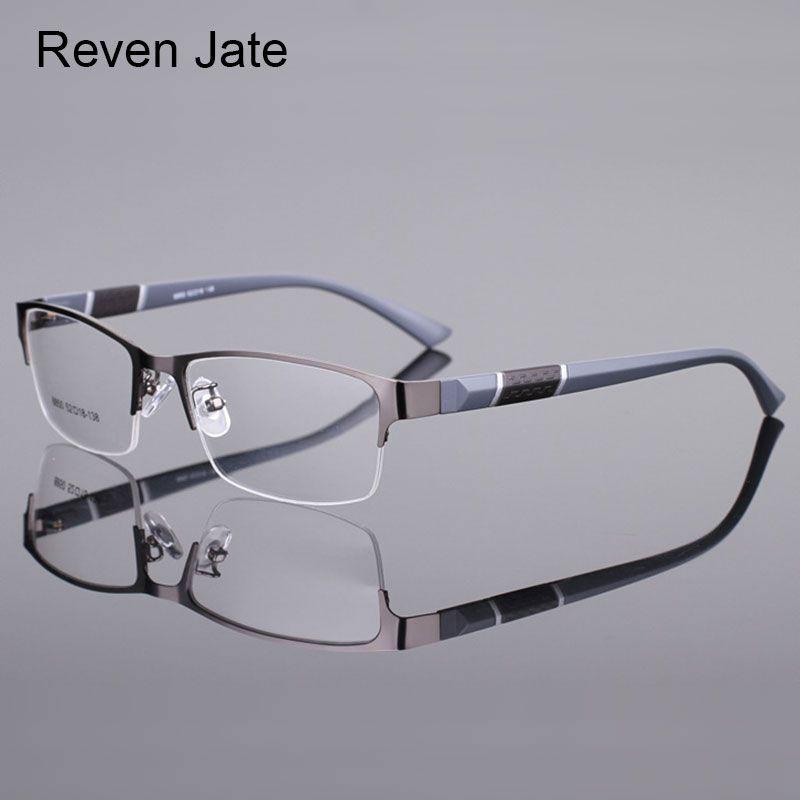 Reven Jate 8850 Half Rim Alloy Front Rim <font><b>Flexible</b></font> Plastic TR-90 Temple Legs Optical Eyeglasses Frame for Men and Women Eyewear