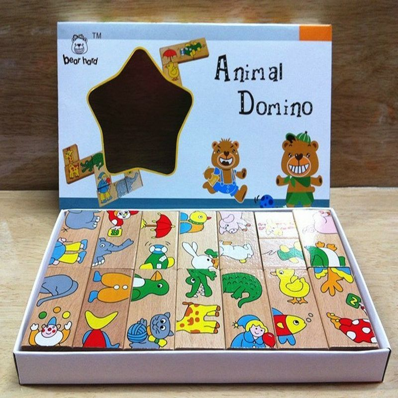 Livraison gratuite Classique En Bois 15 pièces Puzzles Animaux Domino Jouet, bois éducatif bébé jouet dessin animé animaux puzzle jouet