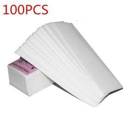 100 Pcs Retrait Non-Tissé Tissu De Corps Cheveux Pad Papier Bandes De Cire Salon Spa Jambe
