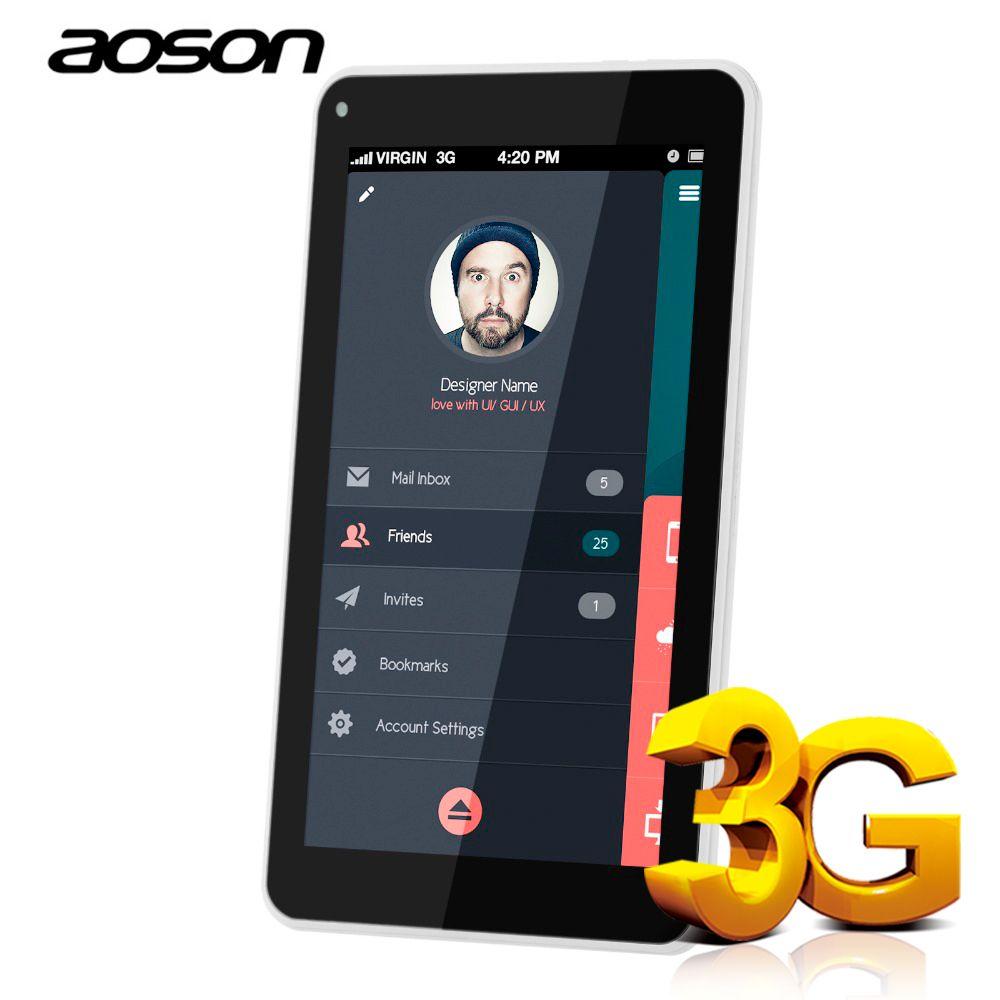 Aoson S7 + 7 pouce DOUBLE Carte SIM 3G Appel Téléphonique Comprimés Android 7.0 Tablet PC IPS 1024*600 Quad Core Mobile Téléphone 16 GB ROM GPS WIFI