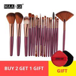Maange 6/15/18 Pcs Makeup Brushes Alat Set Kosmetik Bubuk Eye Shadow Foundation Blush Blending Kecantikan Makeup sikat Maquiagem
