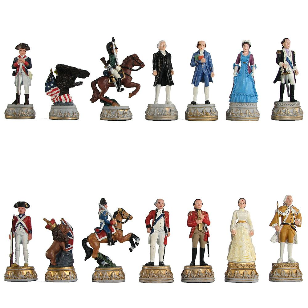 The New Chess Set Child Game American War of independence Resin Doll Chess International Chess Resin Figure Cartoon Chess Set