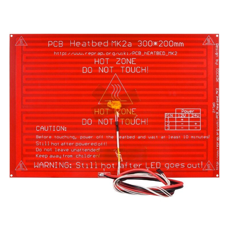 3D Printer Parts MK2A MK2B 300*200*2.0 <font><b>RepRap</b></font> RAMPS 1.4 Heatbed MK2A With Led Resistor And Cable For Mendel 3D Printer Hot Bed