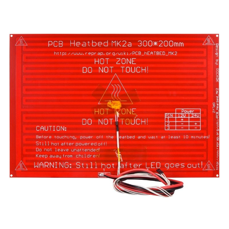 3D Printer Parts MK2A MK2B 300*200*2.0 RepRap RAMPS 1.4 Heatbed MK2A With Led Resistor And Cable For Mendel 3D Printer Hot Bed