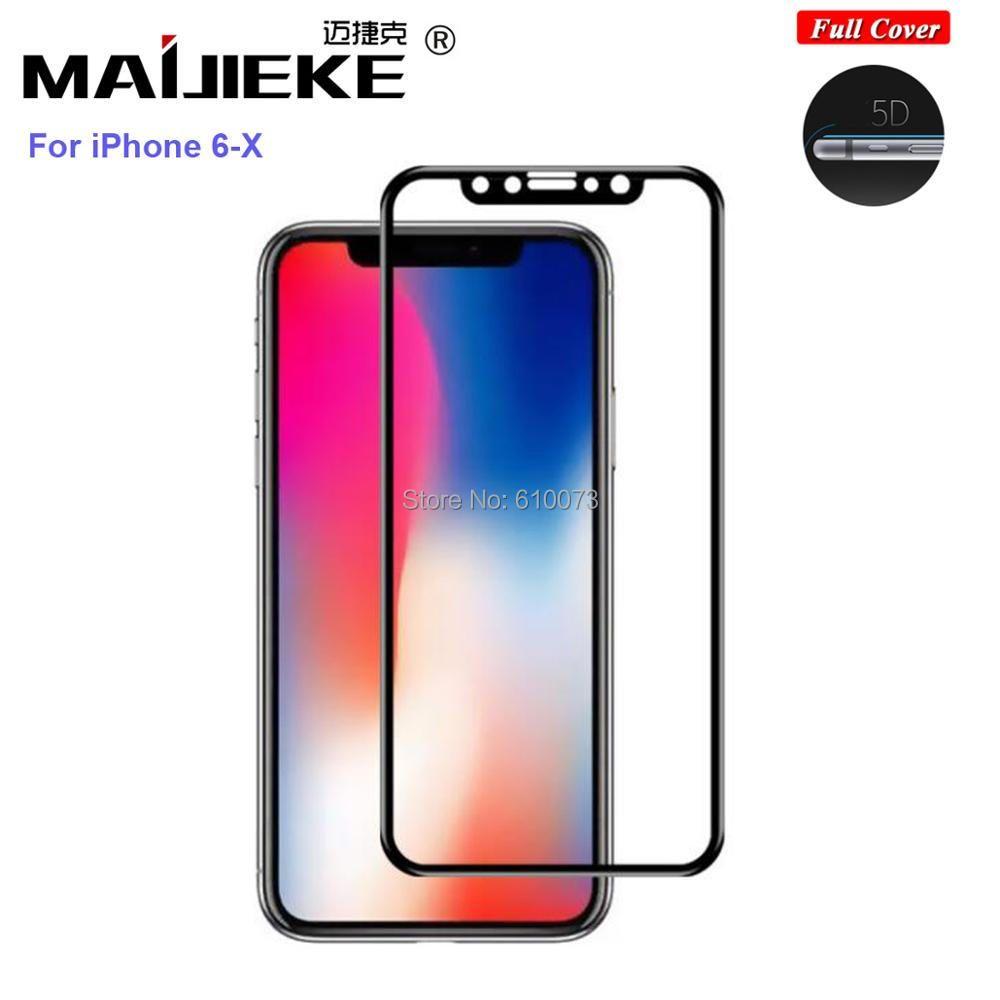 MAIJIEKE 5D Gehärtetem Glas für iphone X 8 7 glas 6 s plus Screen Protector Für iPhone 6 Glas Voll abdeckung Film Gebogene Kante