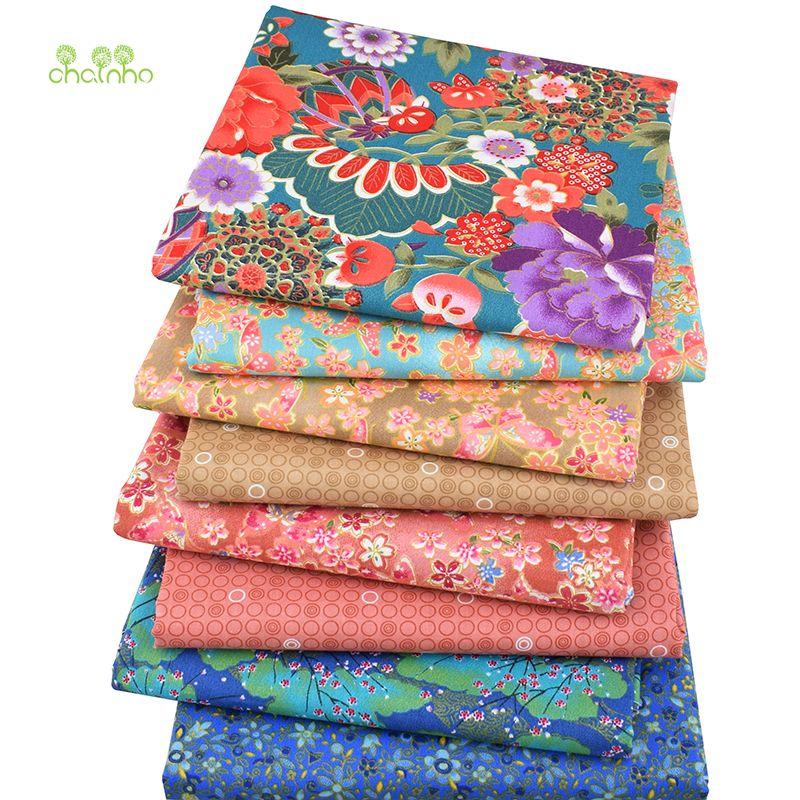 8 pcs/lot, tissu en coton sergé Patchwork tissu bronzant tissu gros quart paquet de bricolage à la main Quilting couture Textile matériel