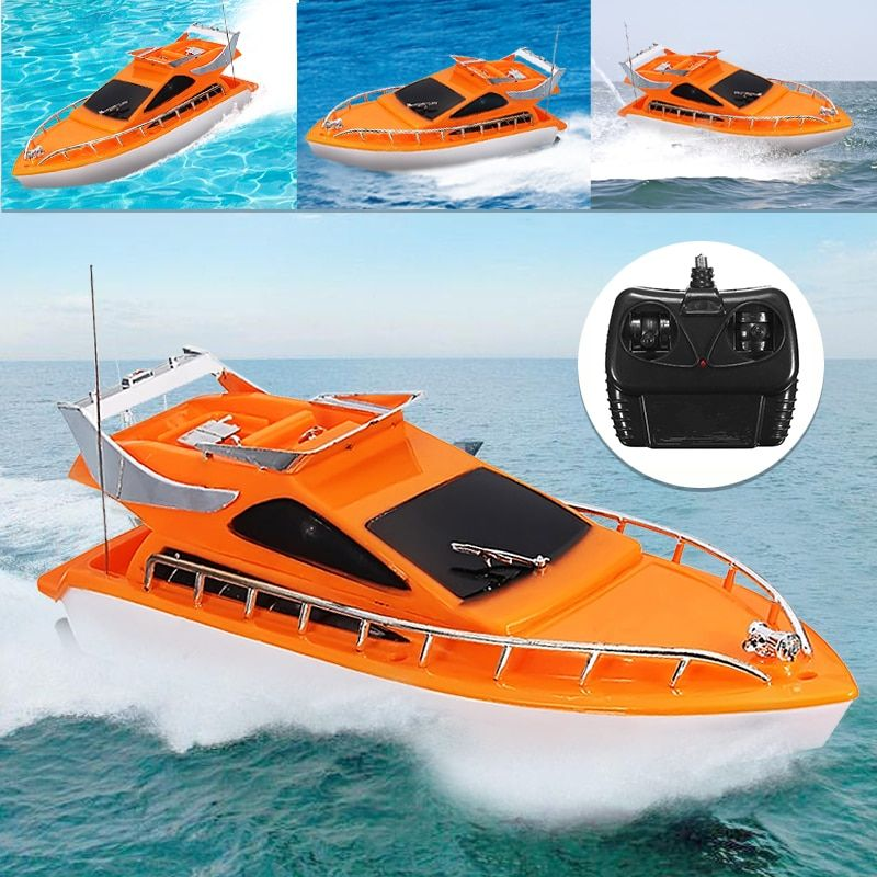 Orange Mini RC Boats Plastic Electric Remote Control <font><b>Speed</b></font> Boat Kid Chirdren Toy 26x7.5x9cm