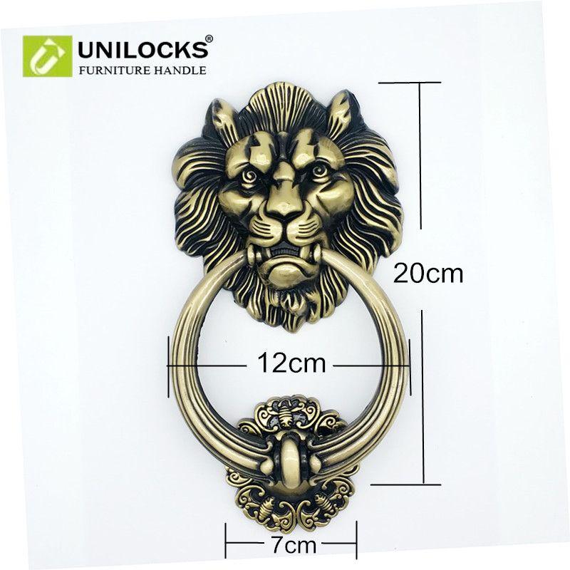 UNILOCKS 20 cm grande Antique Lion porte heurtoir tête de Lion portières Lions décor à la maison
