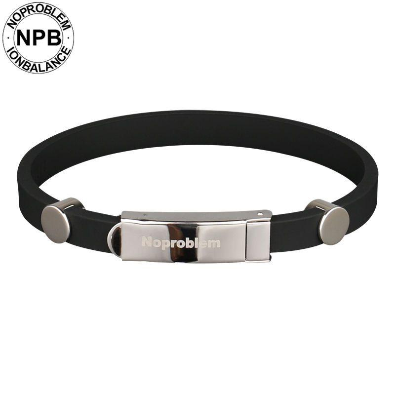 Noproblem 023 ion balance sports power hologram therapy silicone band waterproof tourmaline germanium bracelet bangles