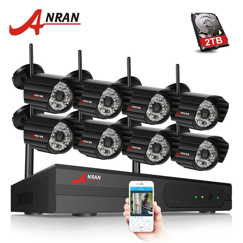 ANRAN 3TB HDD 8CH P2P HDMI 1080P WIFI NVR 48IR Waterproof Outdoor Wireless IP Camera Surveillance Security CCTV Video System