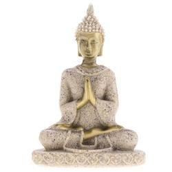 Magideal Hue Sandstone Meditasi Buddha Patung Patung Buatan Tangan Figurine Meditasi Miniatur Ornamen Patung Rumah D #3