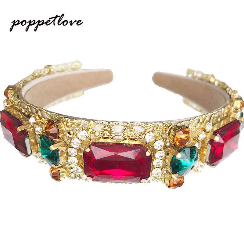 2017 mode européenne Vintage Baroque bandeau complet coloré cristal strass bandeaux or feuilles couronne perle cheveux bijoux