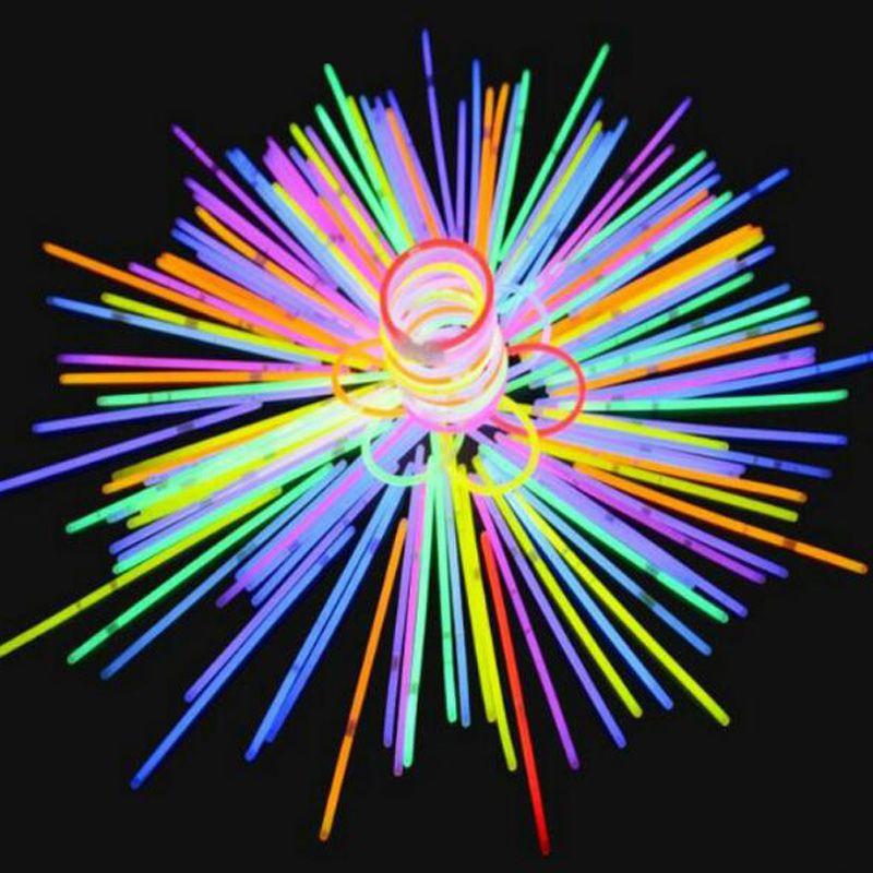 100pcs / set of colorful luminous fluorescent bracelet DIY bracelet necklace Christmas party neon glow stick children's toys