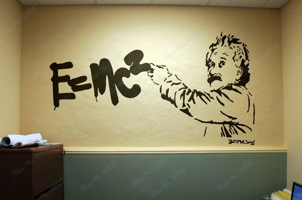 Einstein Theory of Relativity Banksy Style E=MC2 Bedroom Living Room Decor Home Decal Removable Vinyl Art Wall Sticker B151