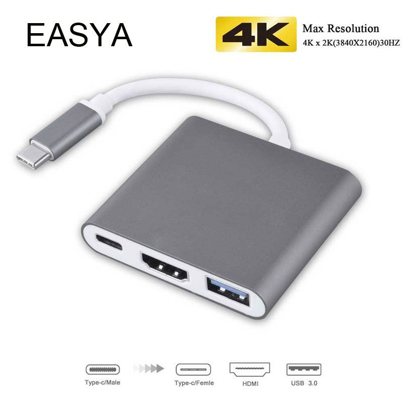 EASYA 3-in-1 USB C Hub to HDMI Adapter 4K support Nintendo switch USB Hub 3.0 with Type-C Power Delivery for MacBook Pro USB-C