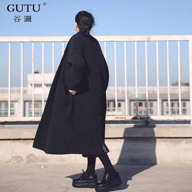 [GUTU] 2018 Korean European Highest Quality Jacket Autumn Women Large Size Long Loose Black Windbreaker Long Trench Coat WTH1201
