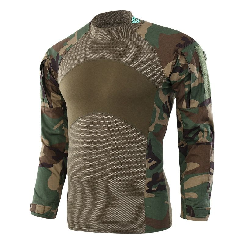 Men's Flag Camouflage Tactical Training T-shirt Army Combat Male Long Sleeve Military Outdoor Camping Hiking Hunting Clothes