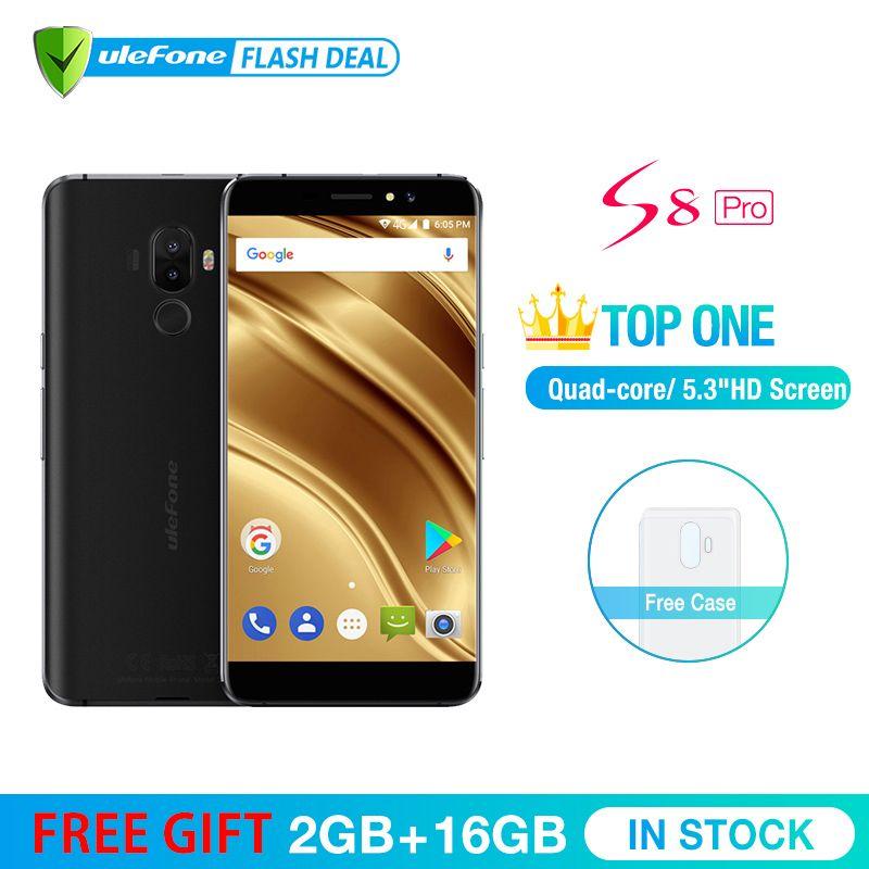 Ulefone S8 Pro Mobile Téléphone 5.3 pouce HD MTK6737 Quad Core Android 7.0 2 gb + 16 gb D'empreintes Digitales 4g Smartphone