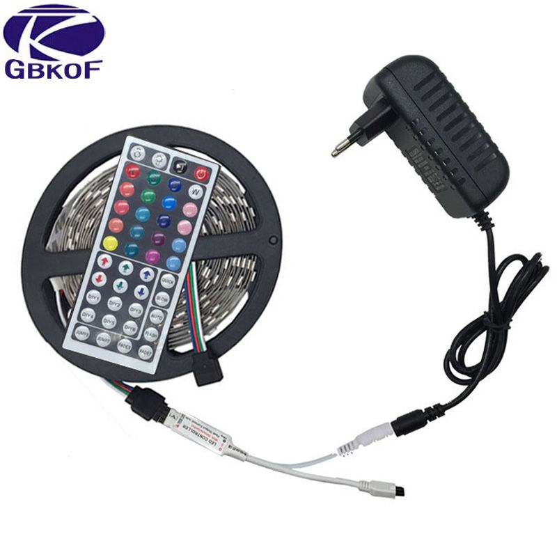10M 5M 3528 5050 RGB LED strip light non waterproof led light 10M flexible rgb diode led tape set+Remote Control+Power Adapter