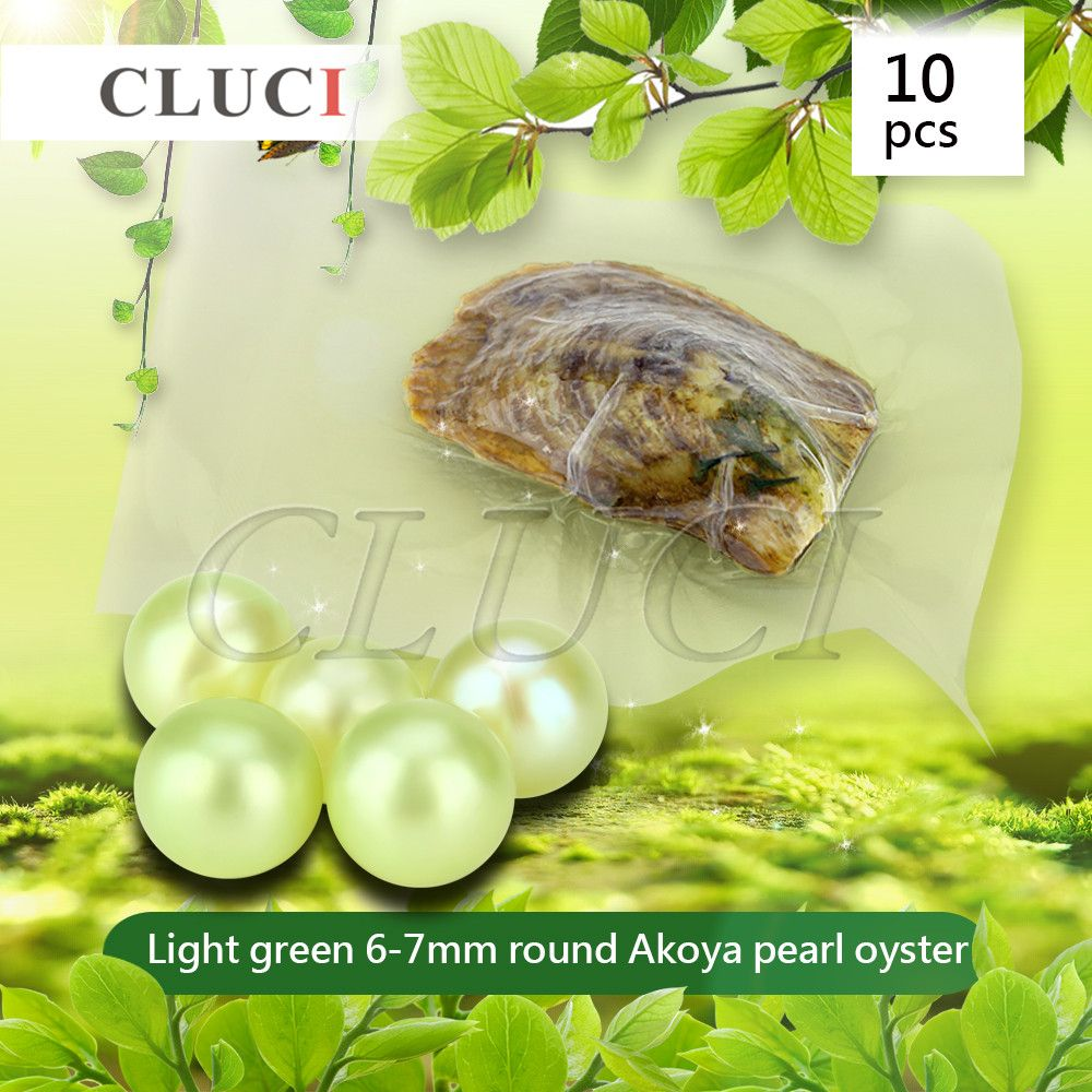 CLUCI AAA grade 10pcs 6-7mm Akoya Light Green colorful Pearls in Oysters, Colorful Round Beads for Jewelry Making