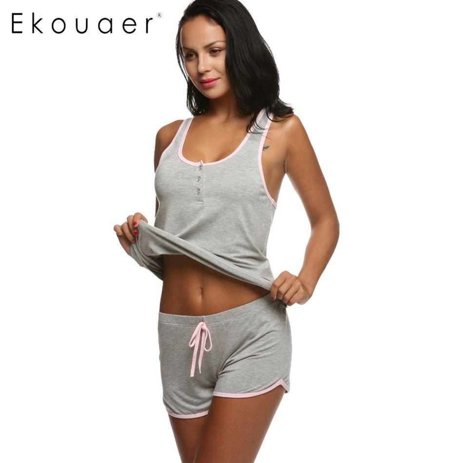 Ekouaer Femmes Court Sexy Pyjamas Réservoir et Camisole Cami Set Nouveau Printemps et Été Ameublement vêtements Coton De Nuit Costume