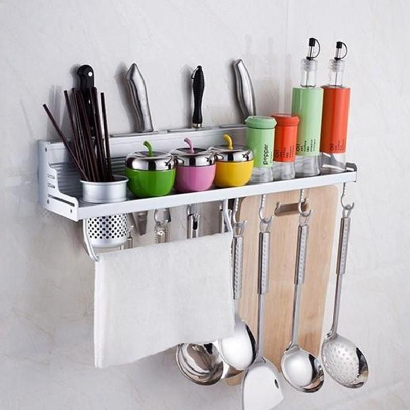 Kitchen Shelf Wall Mounted Space Aluminum Knife Holder Knife Rack Storage Kitchen Accessarie Kitchen Supplies Organizer E5M1