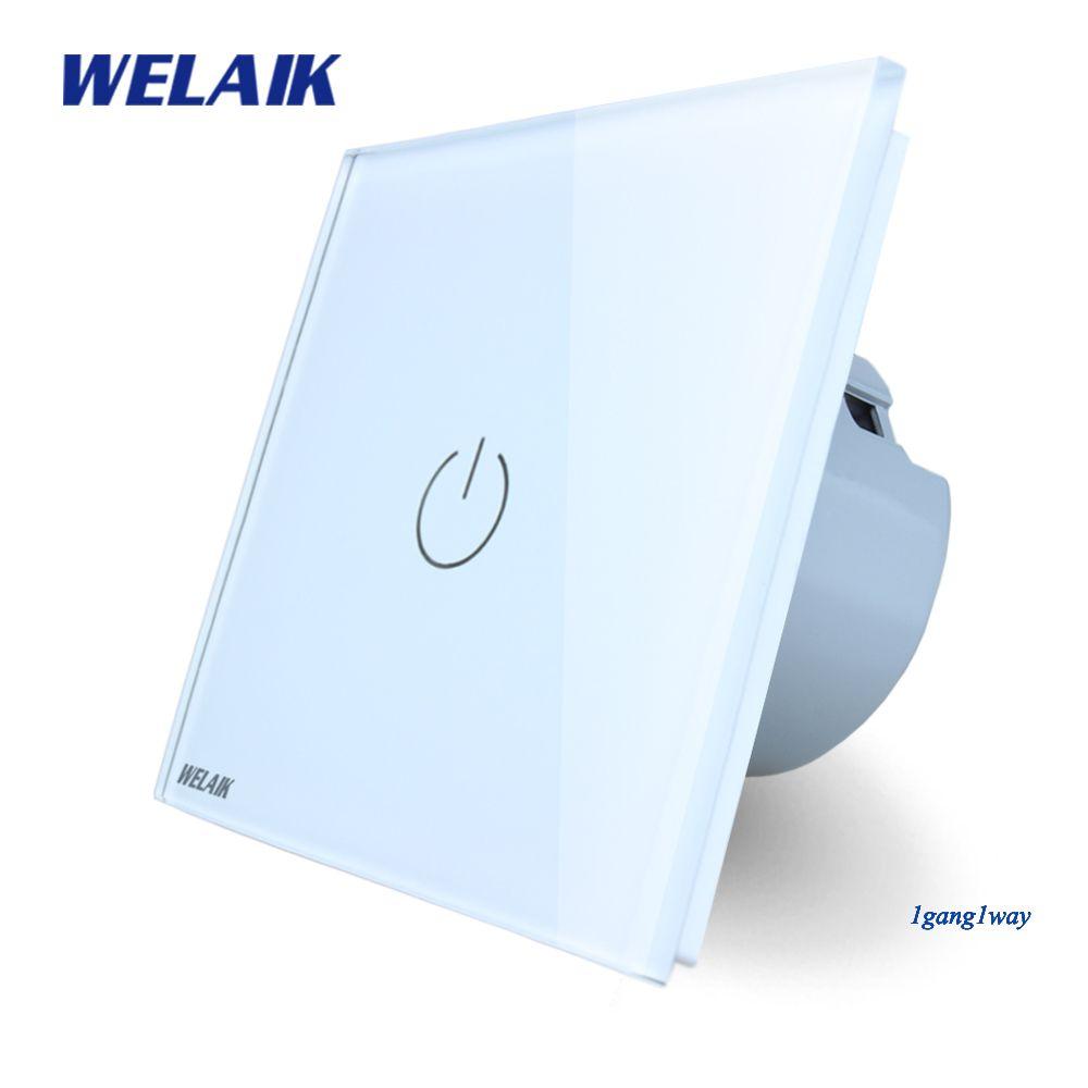 WELAIK Cristal Interrupteur Du Panneau De Verre Interrupteur Mural UE Tactile Commutateur Écran Mur Interrupteur 1gang1way AC110 ~ 250 V LED lampe A1911W/B