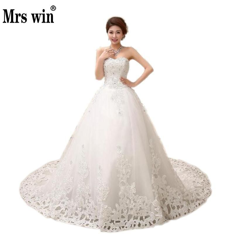 Free Shipping Long Tail Wedding Dress Sweet Princess Diamond Royal Train Bride Long Bridal Dresses Wedding Dress Hs531
