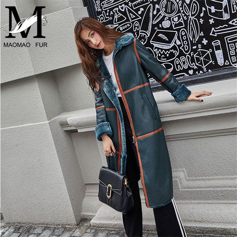 Genuine Women Sheep Leather Jacket Winter Warm Ladies Fashion Real Merino Sheepskin Leather Long Coat With Shearling Trim