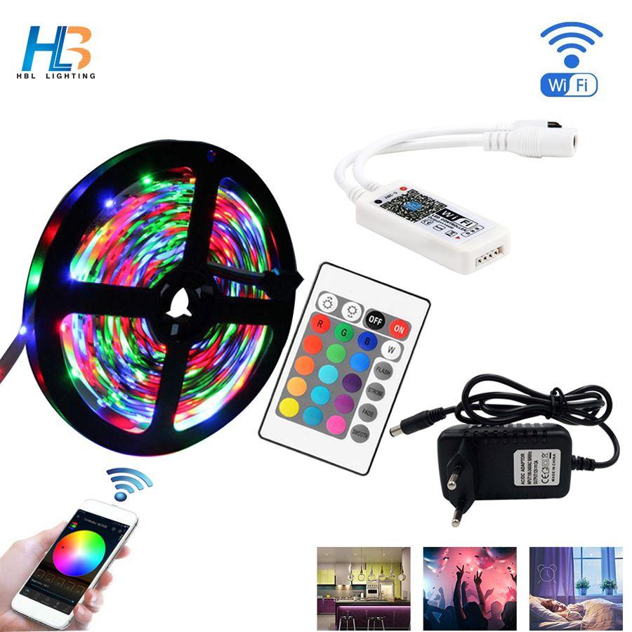 5M 10M 15M 2835 RGB LED bande de lumière bande de Diode étanche ruban de LED DC 12V adaptateur + IR LED rgb à distance ou wifi rgb à distance