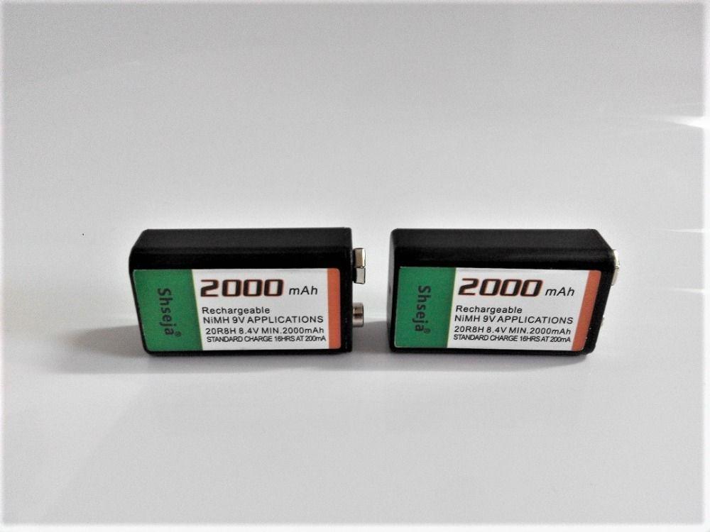 2 pcs/lot 2000 mah 9 v rechargeable batterie 9 volts Ni-MH batterie pour Microphone