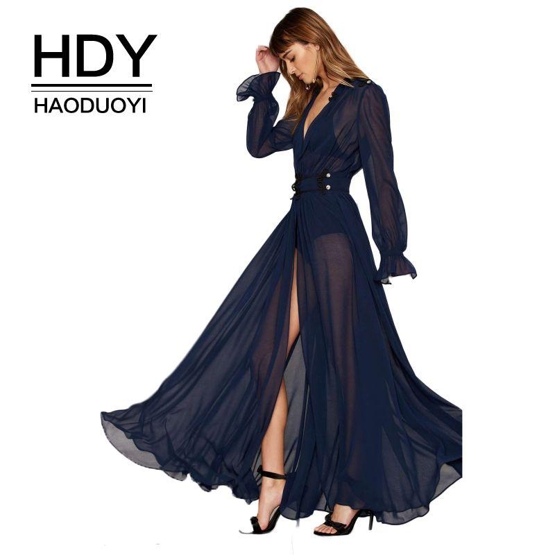 HDY Haoduoyi Summer Solid Blue Women Deep V-Neck Long Sleeve Front Split Sexy Vestidos A-Line Ruffle Sheer Elegant Maxi Dress