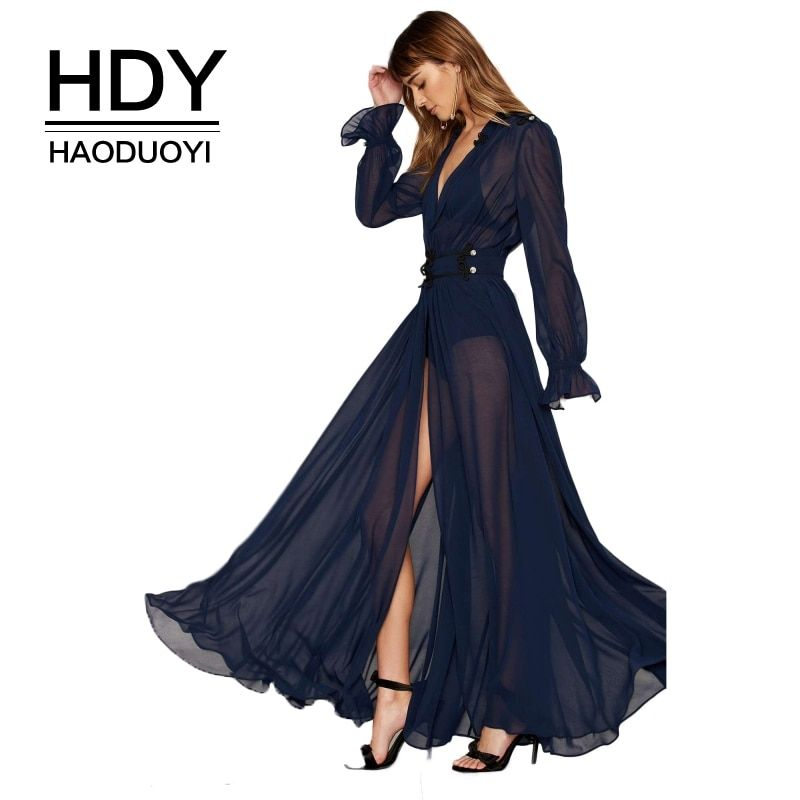 HDY Haoduoyi Summer Solid Blue Women Deep V-Neck Long Sleeve Front Split Sexy Vestidos A-Line Ruffle Sheer Elegant Maxi Dress