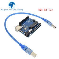 Pintar Elektronik UNO R3 Mega328P ATMEGA16U2 Papan Pengembangan dengan USB Kabel untuk arduino Diy Starter Kit